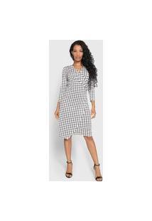 Vestido Lança Perfume Midi Transpassado Xadrez Grid Branco/Preto