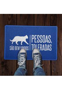 Capacho Gatos São Bem Vindos Azul 0,40X0,60M Beek