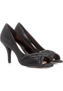 Peep Toe Shoestock Salto Fino Strass - Feminino