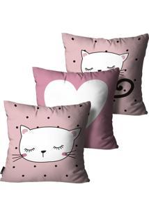 Kit Mdecore Com 3 Capas Para Almofada Infantil Gato Rosa 55X55Cm - Rosa - Dafiti