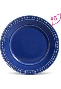 Jogo De Pratos Rasos Atenas- Azul Escuro- 6Pçs- Porto Brasil