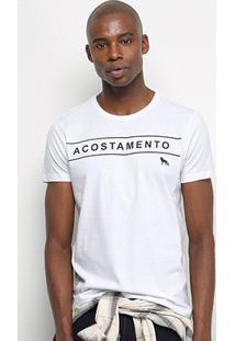 Camiseta Acostamento Básica Masculina - Masculino-Branco