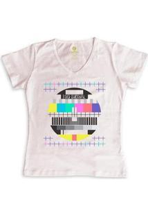 Camiseta Feminina Gola V Cool Tees Offline Signal - Feminino-Rosa