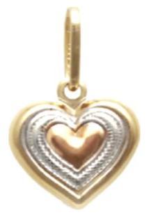 Pingente Prata Mil Com Coração No Centro Ouro