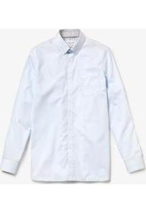 Camisa Lacoste Regular Fit Masculina - Masculino-Branco+Azul Claro