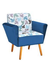 Poltrona Decorativa Dora Estampado Folhas D68 Com Veludo Azul Marinho - D'Rossi
