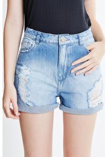 Short Em Jeans Médio Com Rasgos