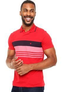 Camisa Polo Malwee Estampa Vermelha