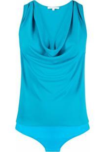 Patrizia Pepe Body Decote Profundo - Azul