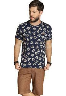 Camiseta Surf.Com Flores Masculina - Masculino-Marinho