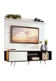 Rack Madesa Dubai E Painel Para Tv Até 65 Polegadas Com Pés Preto/Branco 7709 Preto