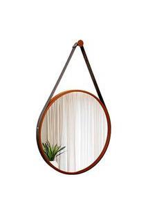 Espelho Decorativo Adnet Marrom Com Alça Em Corino Preta 60Cm Redondo - E2G Design