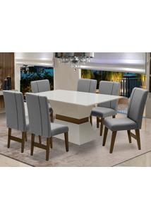Conjunto De Mesa Para Sala De Jantar Com 6 Cadeira Monaco-Dobue - Branco Off / Castanho / Grafite