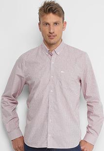 Camisa Xadrez Lacoste Manga Longa Masculina - Masculino-Vermelho+Branco