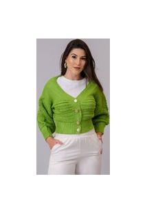 Cardigan Tricot Cropped Verde