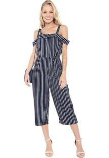 Macacão Ciganinha Lily Fashion Reto Cropped Listrado Azul-Marinho/Branco