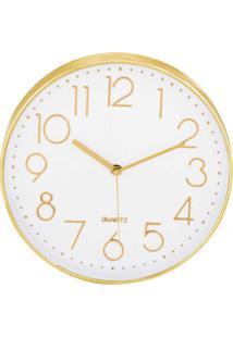 Relógio De Parede Vazé Branco E Dourado