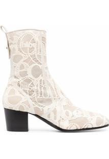 Chloé Ankle Boot Goldee Com Amarração - Branco