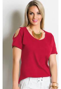 Blusa Detalhe Com Recortes Vermelha