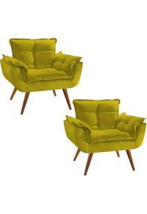 Kit 02 Poltronas Decorativa Opala Deluxe Suede Amarelo
