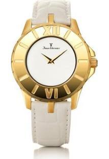 Relógio Jean Vernier Pulseira Couro Vidro Cristal Feminino - Feminino-Branco+Dourado