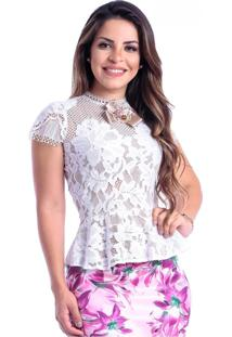 Blusa Peplun Miss Lady Renda Off-White