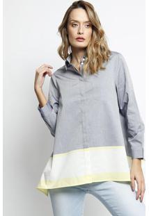 Camisa Listrada Com Bolso- Azul & Off White- Lacostelacoste