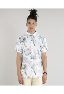Camisa Masculina Estampada De Folhas Com Bolso Manga Curta Off White