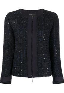 Emporio Armani Glitter Tweed Zip Jacket - Azul