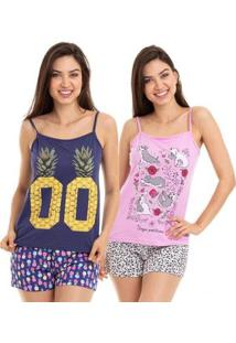 Kit 2 Pijamas Short Doll Alcinha Adulto Luna Cuore 5804.020008-020013 Feminino - Feminino-Azul+Rosa