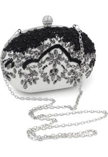 Bolsa Clutch Liage Oval Pedraria Cristal Pedra Bordada Brilhante Metal Preta Branca Prata