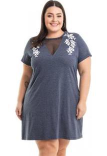 Vestido Meia Malha Com Estampa Miss Masy Plus Size - Feminino-Cinza