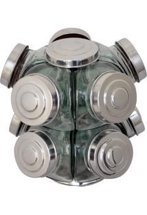Baleiro De Vidro Giratório 10 Potes Tampas Alumínio Boemia