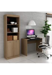 Conjunto Home Office Com Escrivaninha E Estante Para Livros Móveis Avelã Tx/Ônix Tx