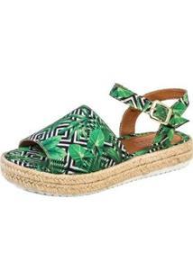 Sandalia Flatform Mercedita Shoes Corda Tropical Feminina - Feminino-Verde