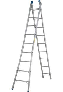 Escada Extensível 2X9 Em Alumínio Com 18 Degraus ( 2 Partes - 9 Degraus Cada Parte - 18 Degraus) Alcance De Até 4,77M - Mor
