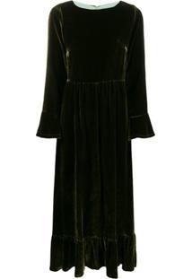Black Coral Vestido De Velido Com Babados Na Barra - Verde