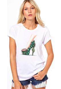 Camiseta Coolest Salto Flor De Cacto Branco.