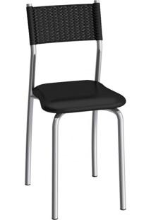 Cadeira De Aço Mônaco C142 Compoarte Cromado/Preto