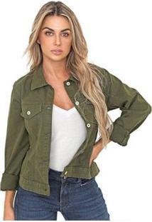 Jaqueta Bloom Color Sarja De Moletom Feminina - Feminino-Verde Militar