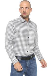 Camisa Jack & Jones Reta Bolso Branca/ Cinza