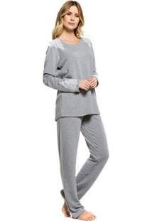 Pijama Inverno Renda Feminino - Feminino-Mescla