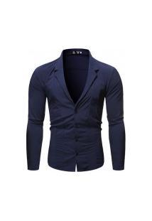 Camisa Masculina Gola V Funda - Navy