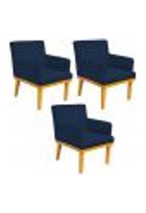 Kit 03 Poltronas Decorativa Para Sala De Estar Base Mel Beatriz W01 Suede Azul Marinho - Lyam Decor
