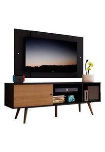 Rack Madesa Cairo E Painel Para Tv Até 58 Polegadas Com Pés De Madeira - Preto/Rustic D8D8 Cor:Preto/Rustic