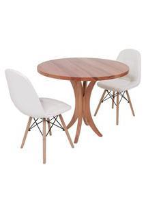 Conjunto Mesa De Jantar Tampo De Madeira 90Cm Com 2 Cadeiras Botonê - Branco