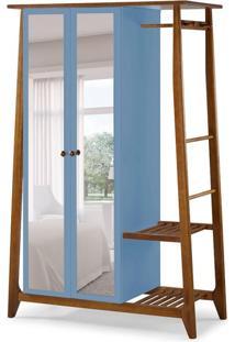 Guarda-Roupa Solteiro Stoka Com Espelho 2 Pt Nogal E Azul Serenata