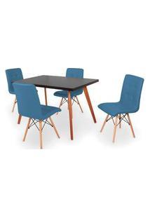 Conjunto Mesa De Jantar Gih 120X80Cm Preta Com 4 Cadeiras Gomos - Turquesa