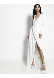 Vestido Longo Com Transpasse - Off White - Versaceversace