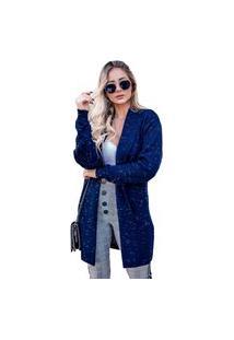 Casaco Tricot Cíntia Feminino Shopping Do Tricô Lã Cardigan